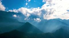 Clouds vaporising from mountain peaks. Sapa, Vietnam. 4K resolution time lapse. Stock Footage