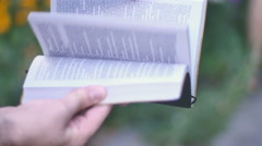 Bible text pages flipping Stock Footage