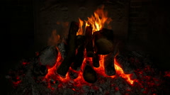 Wide Front Shot of an Ancient Fireplace - stock footage