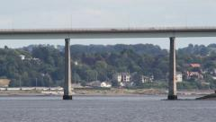 Traffic crossing Tay Road Bridge Dundee Scotland Stock Footage