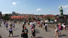 Charles Bridge in Prague. 4K. Stock Footage