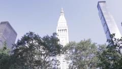 Metropolitan Life Insurance Tower, New York City, Madison Square Park - stock footage
