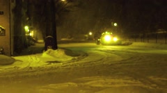 Snow plow at Night Stock Footage