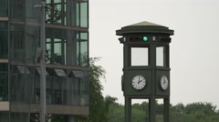 View of the world's first electric traffic light in Berlin - stock footage