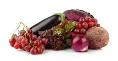 Group of purple vegetables and fruits on white background Stock Photos