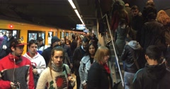 Editorial of Buenos Aires subway breaks down and peoples reaction and shouts Stock Footage
