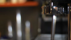 Barista working with coffee maker machine Stock Footage