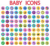 Baby flat vector icon set - stock illustration