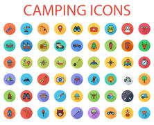 Camping flat vector icon set Stock Illustration
