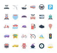Transportation icon set - stock illustration