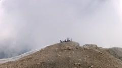 Mountaineer pov expedition aproaching to Marmolada summit on Dolomites mounta - stock footage