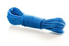 Blue nylon utility rope equipment object isolated on white background Stock Photos