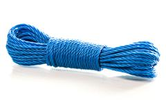 Blue nylon utility rope equipment object isolated on white background - stock photo