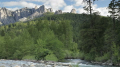 Castle Crags, Upper Sacramento River and Castle Creek (pan) Stock Footage