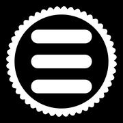Stack flat white color round stamp icon Stock Illustration
