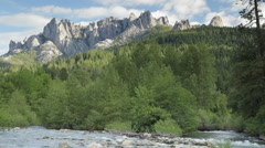 Castle Crags, Upper Sacramento River and Castle Creek Stock Footage