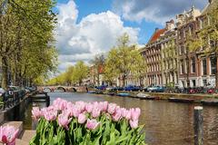 Canal in the old city of Amsterdam, Netherlands Stock Photos