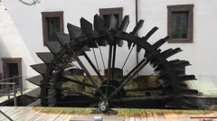 Waterwheel mill in Prague. 4K. Stock Footage