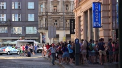 The queue at the currency exchange in Prague. 4K. - stock footage