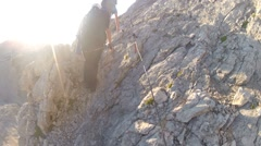 Mountaineer pov to expedition climbing to Triglav summit on Slovenian Alps Stock Footage