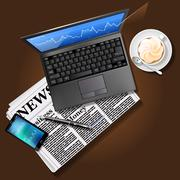 Stock market graph on laptop screen and mobile phone with newspaper - stock illustration