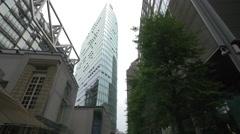 Street view of Bahn Tower in Berlin Stock Footage