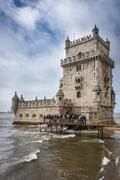 Belem Tower on the Tagus river in Lisbon Stock Photos
