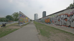 Graffiti art at the Berlin Wall - stock footage