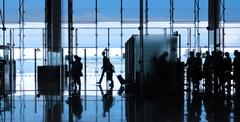business travel, silhouettes - stock photo