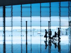 Business travel, silhouettes Stock Photos
