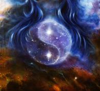 Yin Yang Symbol in space with  stars, about woman hair, original painting - stock illustration