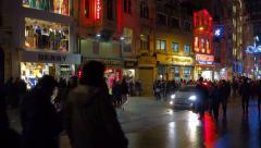 People walking on Istiklal Street at night in Istanbul Turkey (Editorial) Stock Footage