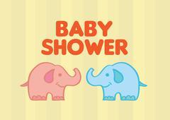 Cute Baby Elephants Vector Illustration for Baby Shower Stock Illustration