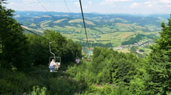 View from a chair of the ski elevator. 4K 3840x2160. Stock Footage