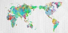 World map with hands in different colors Stock Photos