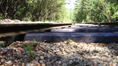Old abandoned railway in the forest Stock Footage