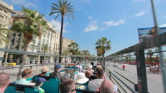 Bus trip through Barcelona, Spain Stock Footage