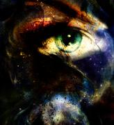 Women eye abstract  painting in space and staes, make up Stock Illustration