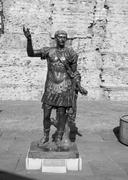 Stock Photo of Black and white Trajan statue in London