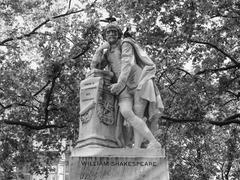 Stock Photo of Black and white Shakespeare statue in London