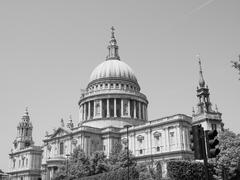 Stock Photo of Black and white St Paul Cathedral in London