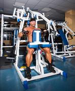 Athlete handsome bodybuilder Stock Photos