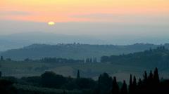 Landscape in the sunrise near San Gimignano, Tuscany, Italy. Stock Footage