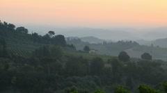 Landscape in the sunrise near San Gimignano, Tuscany, Italy. - stock footage