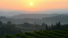 Landscape in the sunrise near San Gimignano, Tuscany, Italy. - stock footage