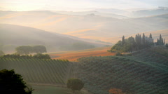 Early morning on countryside, San Quirico d´Orcia, Tuscany, Italy Stock Footage