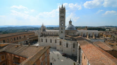 Siena aerial panoramic view. Cathedral Duomo landmark. Tuscany, Italy. Stock Footage