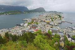 View to Alesund city on a cloudy day, Alesund, Norway. - stock photo