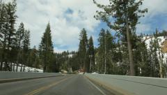 Driving by Sulphur Works in Lassen Volcanic National Park, California Stock Footage