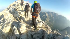 Mountaineer pov to expedition climbing Triglav summit on Julian Alps Stock Footage